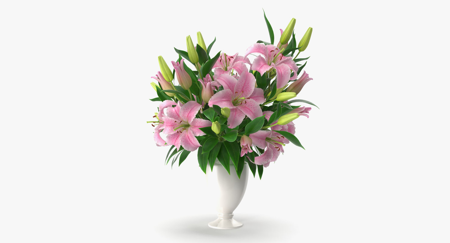 3d model bouquet lilies