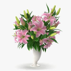 3d model bouquet lilies