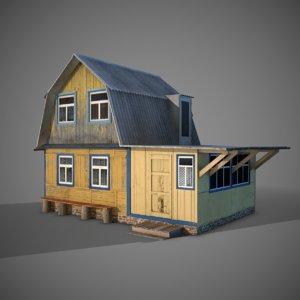 3d obj old wooden house