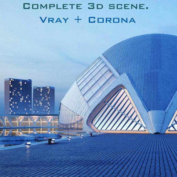 3d hemispheric building city model