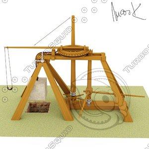 3d model of catapult leonardo da
