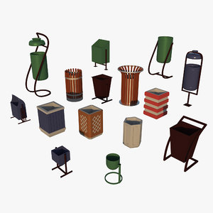 3D model trashcans contains