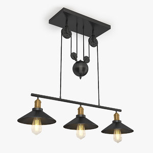 3D edison style barn lamp model