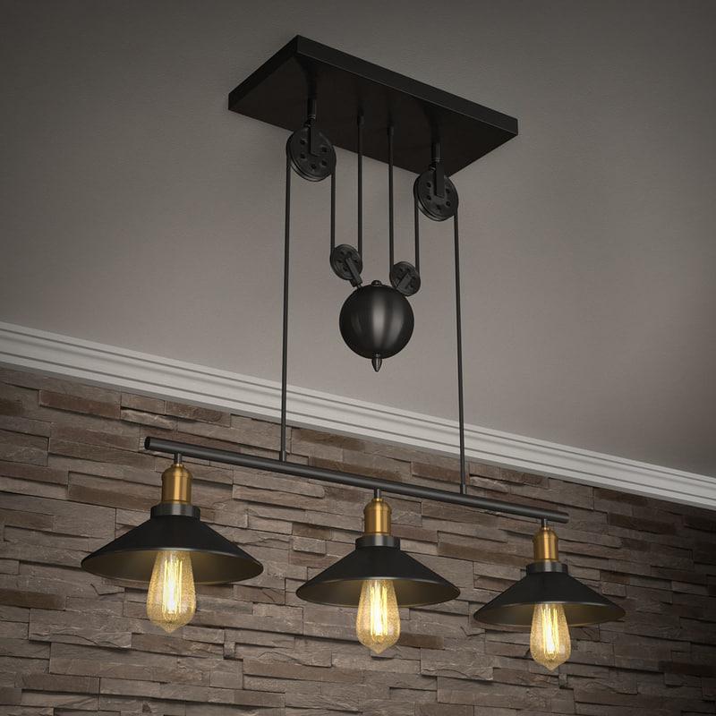 3D edison style barn lamp model