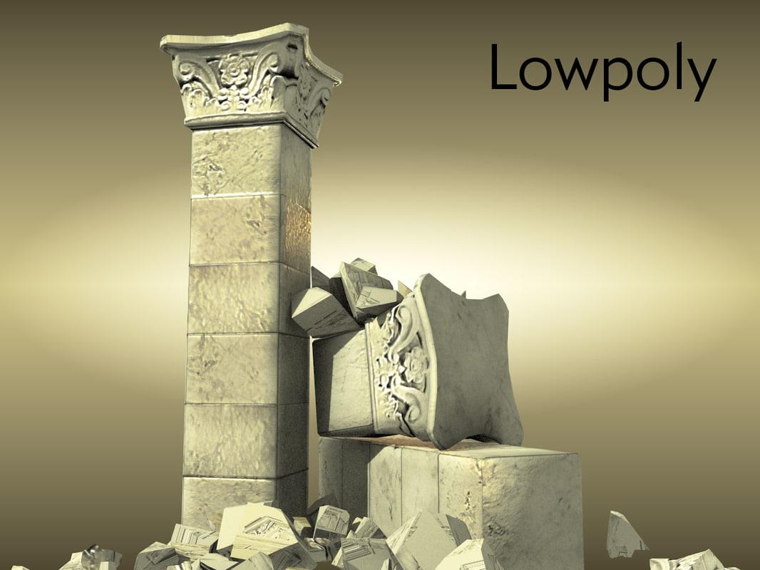 ancient column roman 3D