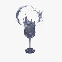 splash wine 3d obj