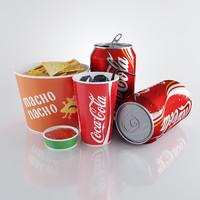 nachos cola 3d obj