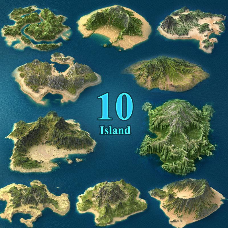 realistic tropical island 3D