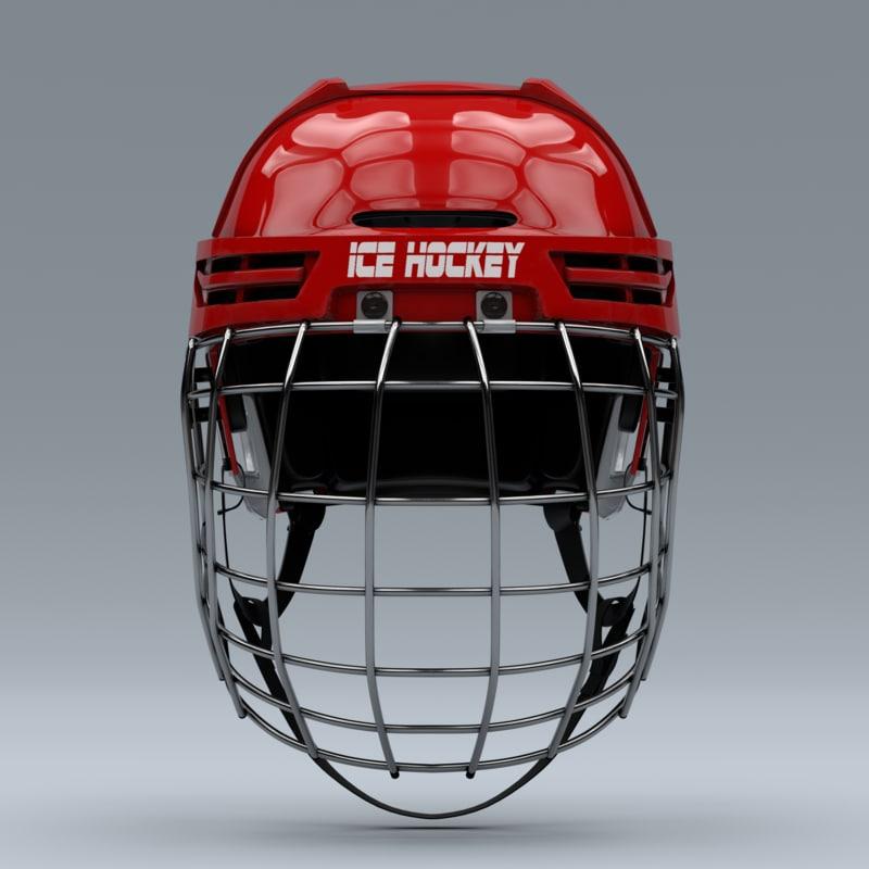 ice hockey helmet metal 3d model