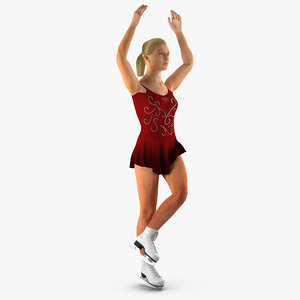 3D model female figure skater rigged