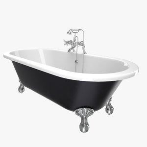 vintage bathtub buckingham black 3D