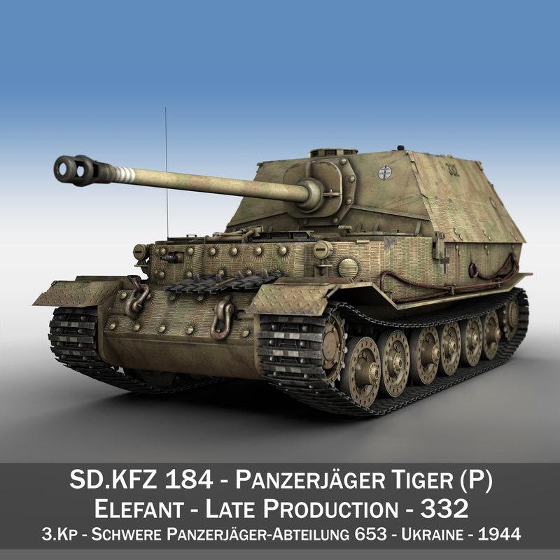 - tiger p elefant 3d model