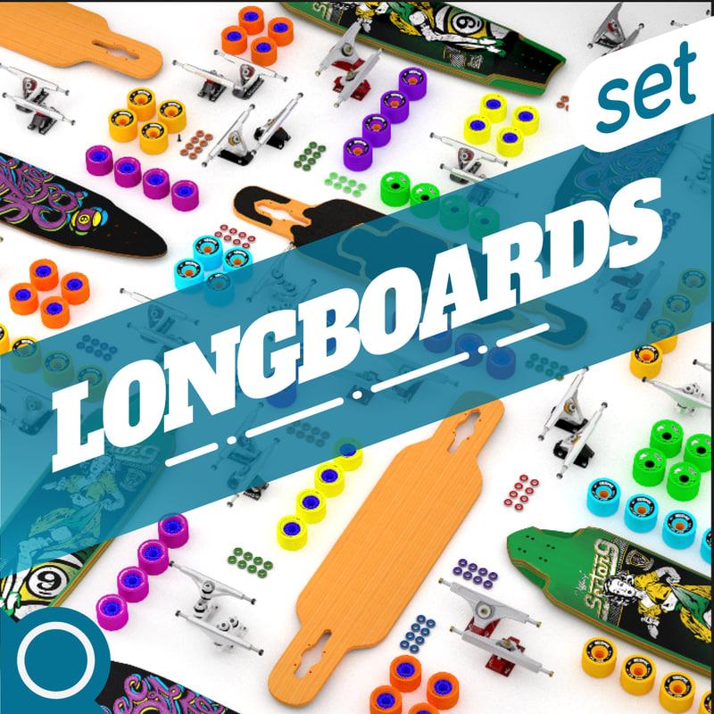 3d longboard set model