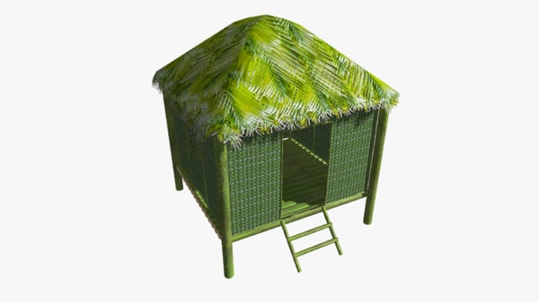 3d tropical hut palm fresh