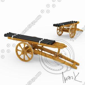 3d obj triple barrel cannon