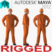 Builder Wearing Orange Coveralls Rigged for Maya