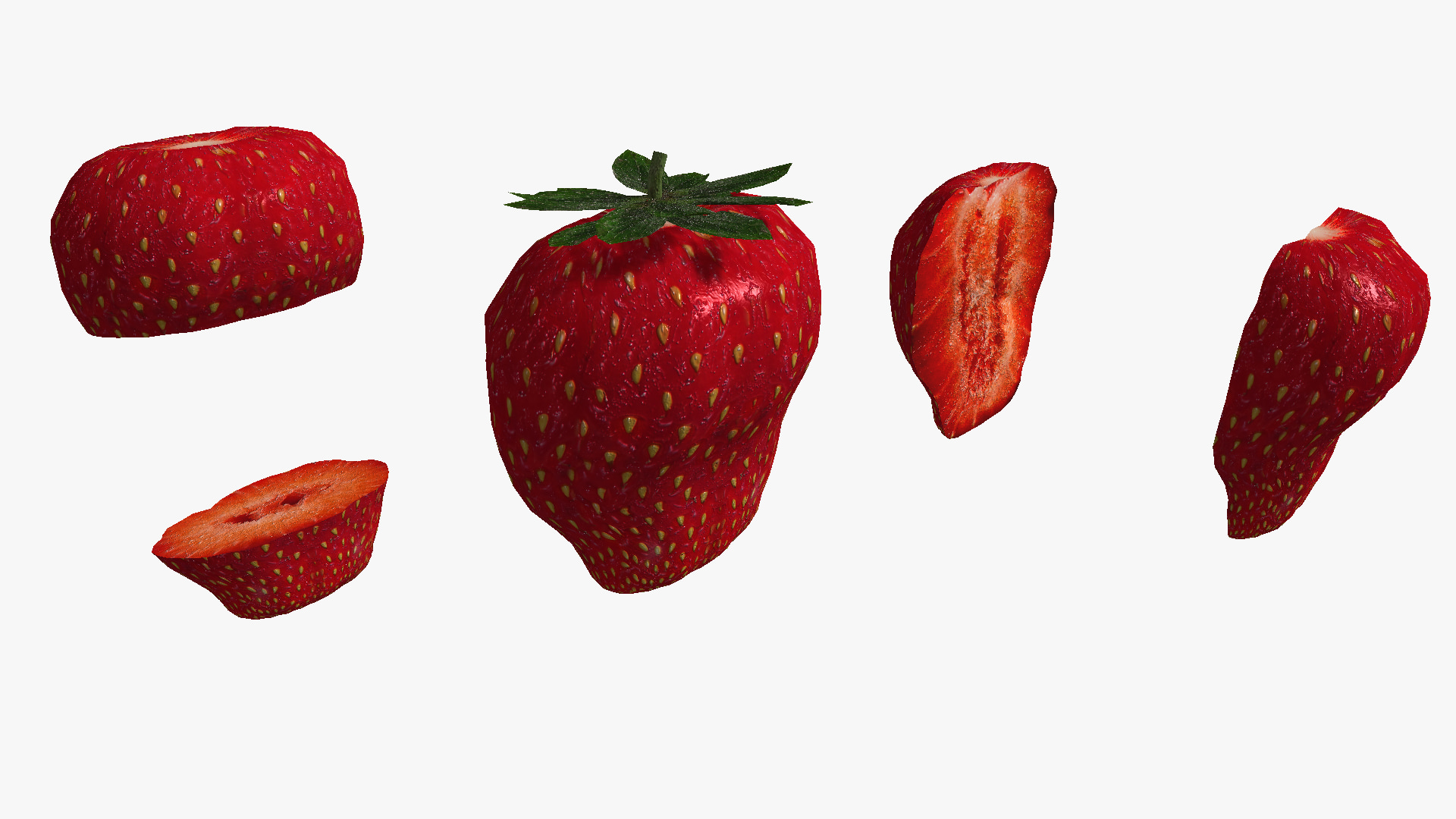 large strawberry cut variations obj