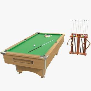 3d realistic pool table 01 model