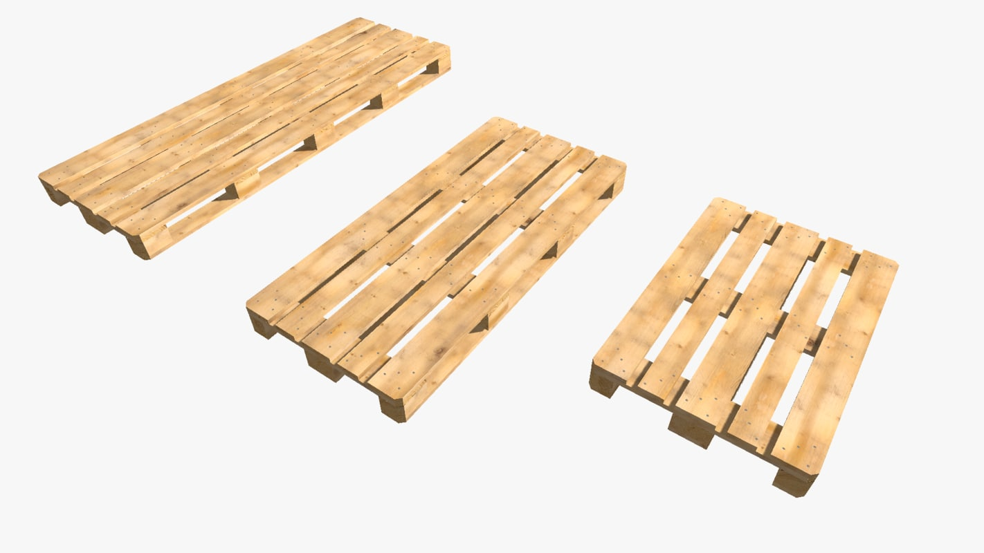 set wood pallet various 3d obj
