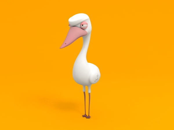 ducky cartoon character 3D model