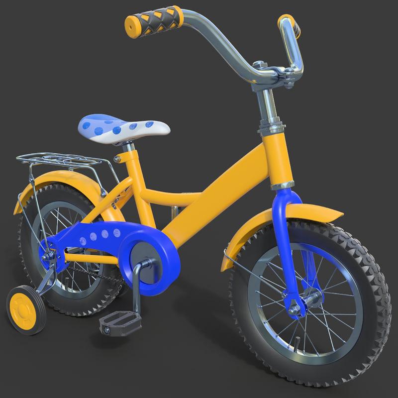 3d model child bike