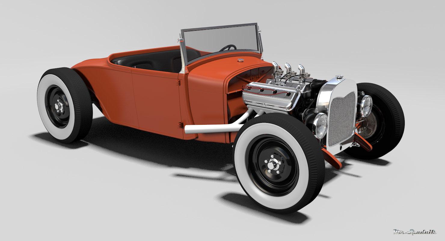hot rod roadster 3d model