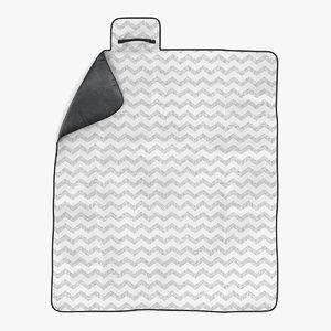 picnic blanket white modeled 3d 3ds
