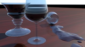 realistic chalice crystal wine 3d obj