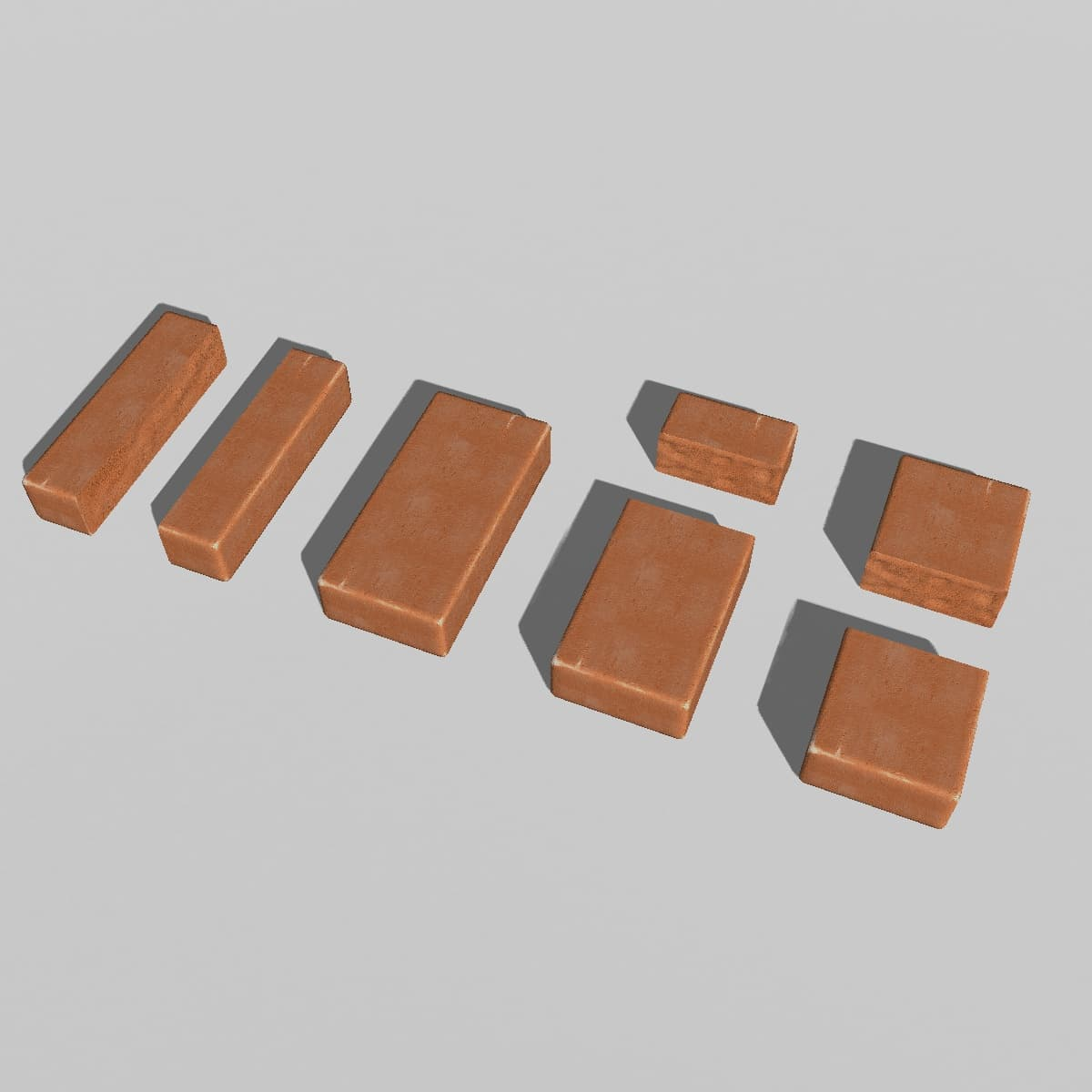 3d set red brick chipped