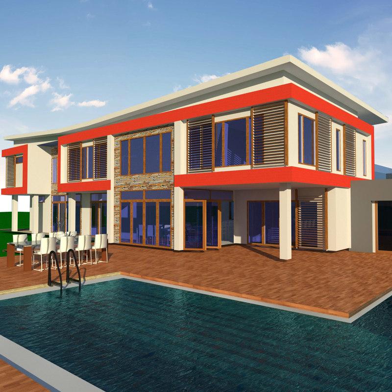 modern butterfly house 3d model