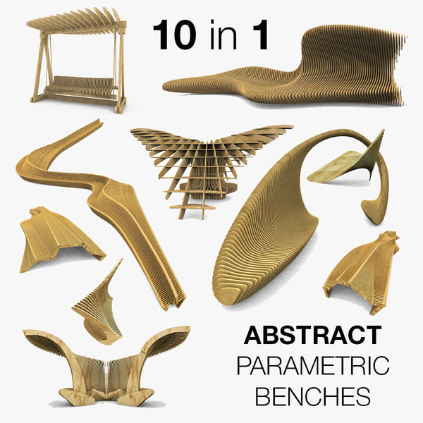 3d model small abstract bench parametric
