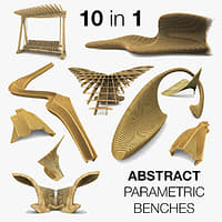 Parametric Abstract Wood Benches 8 In 1 Collection