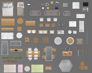 2d furniture floorplan top down view PSD 3D model top view