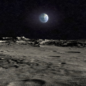 3d scene moon surface landscape model