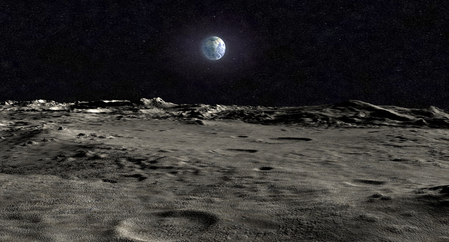 3d scene moon surface landscape model