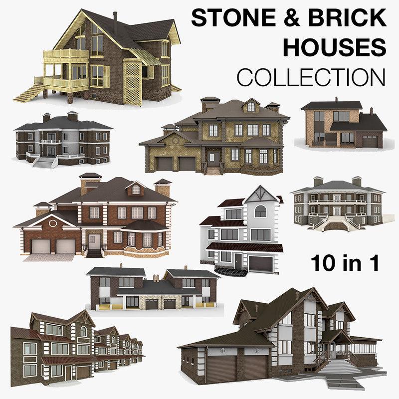 stone brick houses 10 3d model