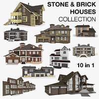 3d model stone brick houses 10