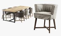 3D leeff woodie stoel dining table model