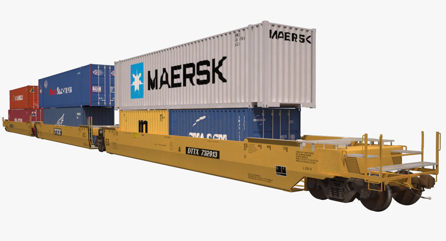 double stack s635 containers 3d model