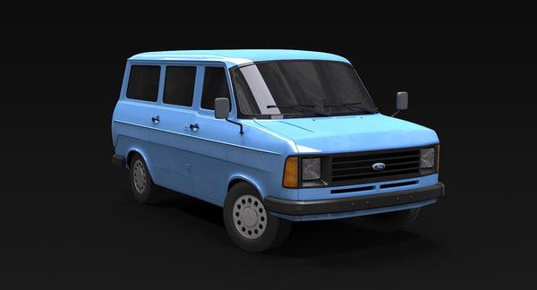 3d minibus vintage bus