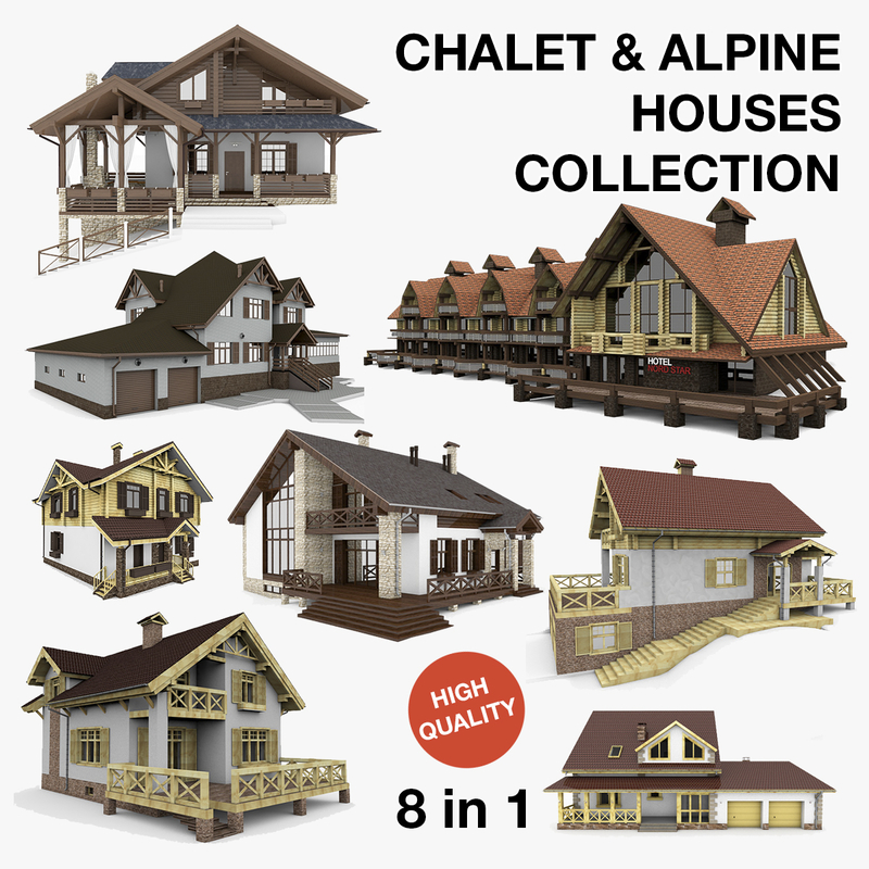 3d model alpine chalet houses