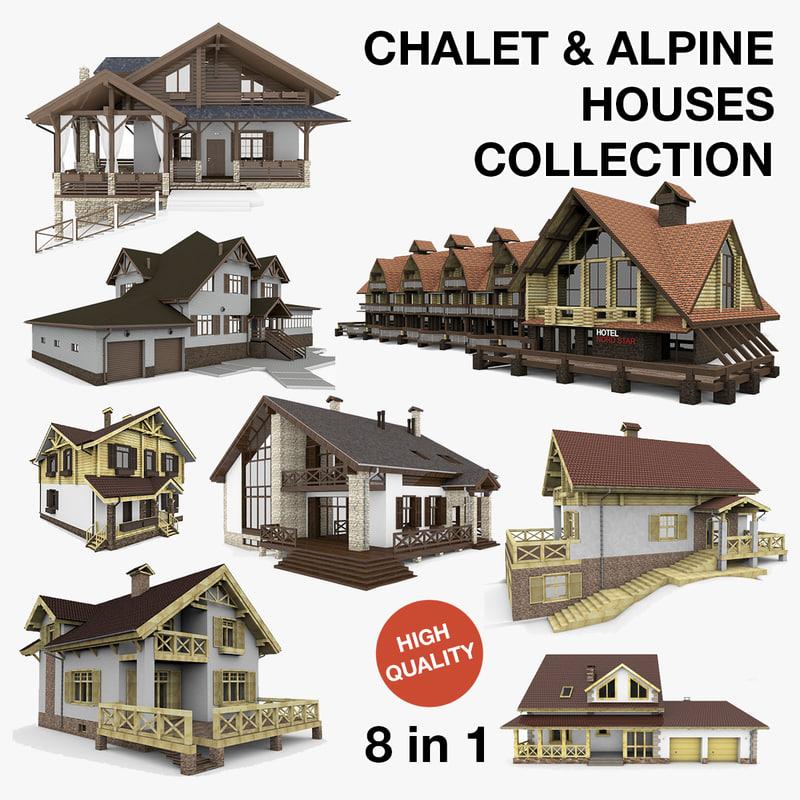 3d model alpine chalet houses