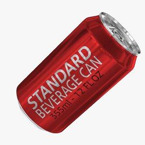 3d model standard 355ml 12oz beverage