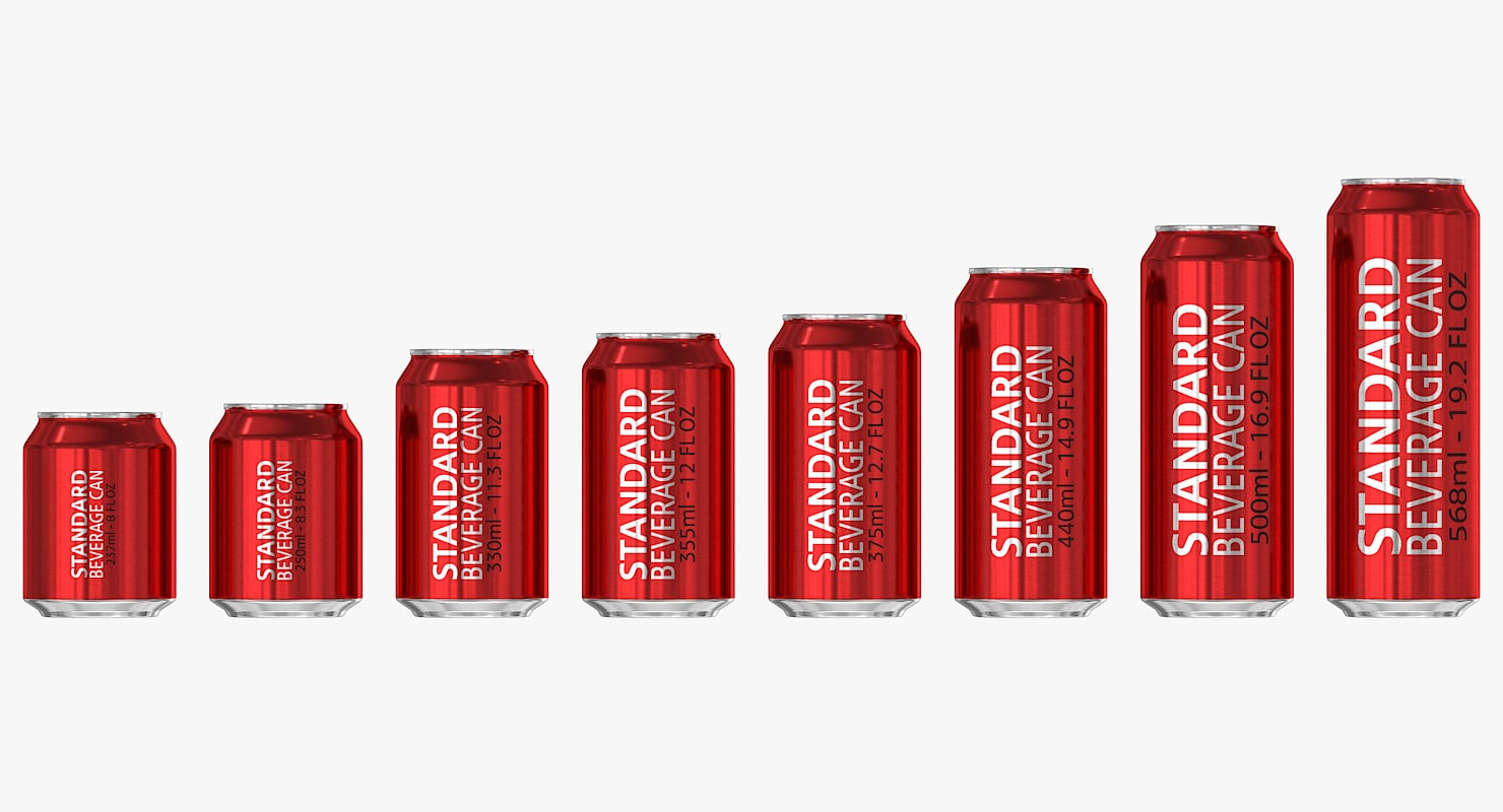 standard beverage cans 3d x