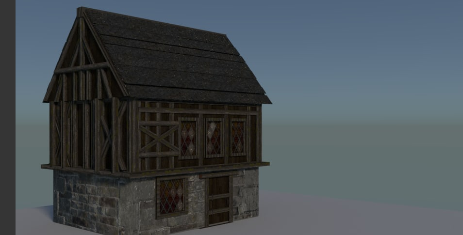 house wooden medieval wood 3D model