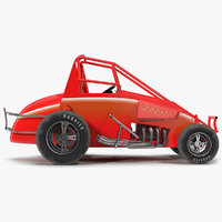 Non-wing Sprint Car Red 3D Model