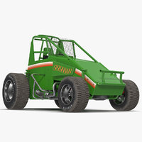 Non-wing Sprint Car Green 3D Model