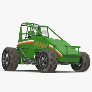3d non-wing sprint car green model