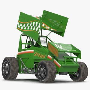 winged sprint car green 3d model