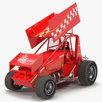 Winged Sprint Car Red 3D Model